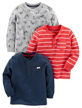 Simple Joys By Carter's Baby Boys' Toddler 3  Pack Long Sleeve Shirt, by Simple+Joys+By+Carter27s