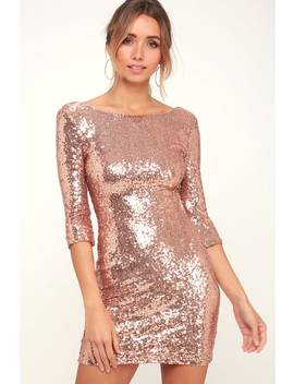 Delightful Ways Rose Gold Sequin Dress by Lulus