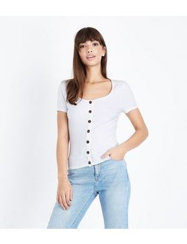 White Button Front Ribbed T Shirt by New Look