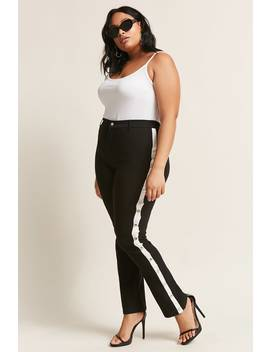 Plus Size Snap Button Stripe Pants by Forever 21