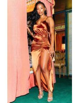 Copper Satin Strappy Ruched Split Leg Maxi Dress by Prettylittlething