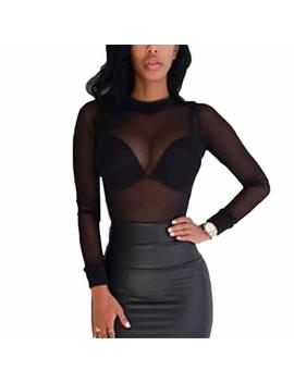 Lioty&Hot New Sexy Women Blouses See Through Transparent Mesh Stand Neck Long Sleeve Sheer Blouse Shirt Ladies Tops Tee Plus Size by Lioty&Hot