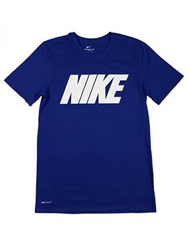 Nike Mens Dri Fit Classic Logo Mesh Print Graphic Shirt Blue/White by Nike