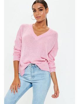 Pink V Neck Oversized Jumper by Missguided