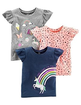 Simple Joys By Carter's Girls' Toddler 3 Pack Short Sleeve Graphic Tees by Simple+Joys+By+Carter27s