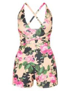 Peach Floral Cross Waist Romper by Prettylittlething