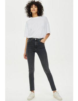 Washed Black Zip Hem Jamie Jeans by Topshop