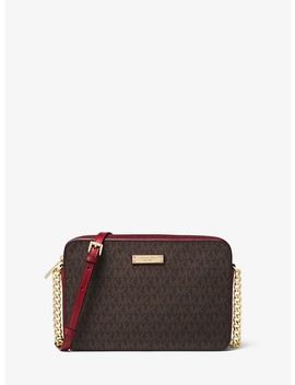 Jet Set Large Logo And Leather Crossbody by Michael Michael Kors