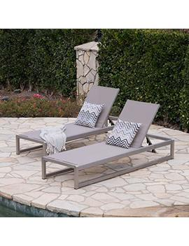 San Luis Outdoor Grey Mesh Chaise Lounge With Silver Finished Aluminum Frame (Set Of 2) by Great Deal Furniture