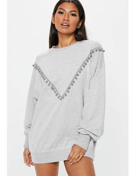 Grey Pom Pom Oversized Night Sweatshirt by Missguided