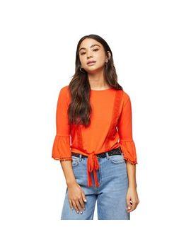 Miss Selfridge   Petite Orange Boho Lace Trim Top by Miss Selfridge