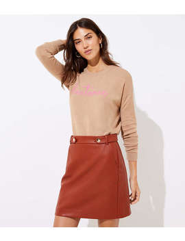 Petite Faux Leather Button Tab Skirt by Loft