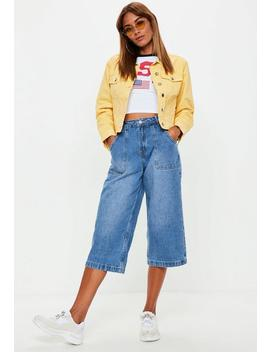 Blue Cropped Wide Leg Denim Jeans by Missguided