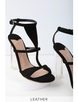 Kam Black Kid Suede Leather Lucite Heels by Tony Bianco