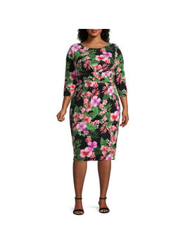 Melrose 3/4 Sleeve Shift Dress   Plus by Melrose