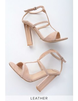 Kam Blush Kid Suede Leather Lucite Heels by Tony Bianco