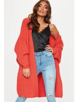 Orange Oversized Longline Knitted Cardigan by Missguided