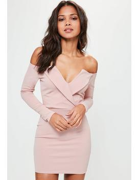 Pink Long Sleeve Wrap Dress by Missguided