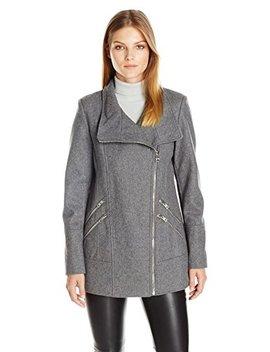 Guess Women's Melton Wool Asymmetrical Zip Coat by Guess