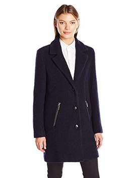 Calvin Klein Women's Boucle 3 Button Wool W/Pu Trim Pocket by Calvin+Klein