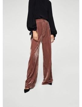 Flared Velvet Trousers by Mango