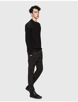 Crewneck Panel Sweater In Black by Jil Sander