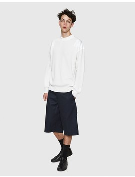 Crewneck Panel Sweater In White by Jil Sander