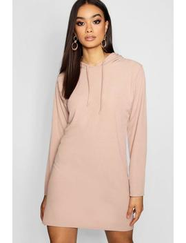 Hooded Rib Sweatshirt Dress by Boohoo