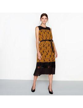 Rjr.John Rocha   Dark Gold Floral Print Pleated Chiffon Sleeveless Midi Dress by Rjr.John Rocha