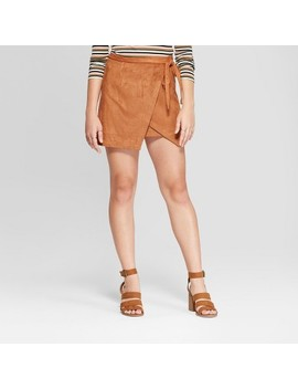 Women's Suede Wrap Mini Skirt   3 Hearts (Juniors') Cognac by 3 Hearts