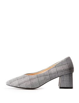 Plaid Pointed Toe Block Heel Pumps by Charlotte Russe