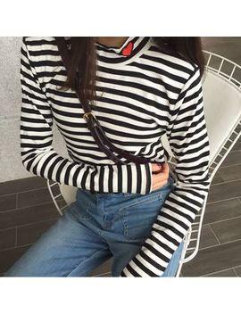 Sophia   Long Sleeve Turtleneck Heart Embroidery T Shirt by Sophia