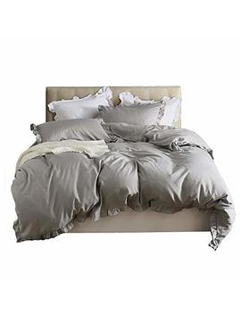 Satis Inside Extremely Soft Hotel Quality 300 Tc Twill 3 Pcs Duvet Cover Set Comforter Shell,Ruffle Around With Zipper Closure, King, Gray by Satis Inside