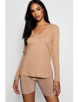 V Neck Rib Knit Jumper by Boohoo