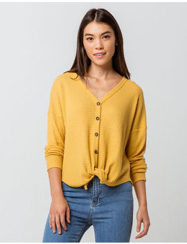 Sky And Sparrow Tie Front Mustard Womens Thermal by Sky And Sparrow