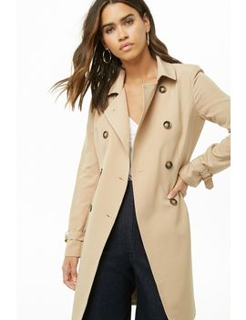 Belted Double Breasted Longline Jacket by Forever 21