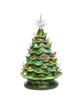 Best Choice Products Sky3037 15in Prelit Ceramic Tabletop Christmas Tree With Multicolored Lights Green by Best Choice Products