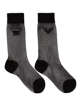 Black Mesh Logo Socks by Prada