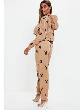 Playboy X Missguided Tan Playboy Repeat Print Slim Joggers by Missguided