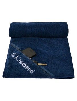 Khataland Premium Sports Towel With Zipper Pocket  Blue by Khataland