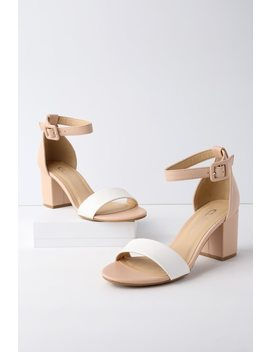 All In White And Nude Ankle Strap Heels by Chinese Laundry
