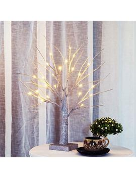 Bolylight Led Bling Bling Birch Night Light Table Tree Lamp Jewelry Holder Centerpiece 17.71 Inch 24 L Great Decoration For Home/Christmas/Party/Festival/Wedding, Warm White, Silver by Bolylight