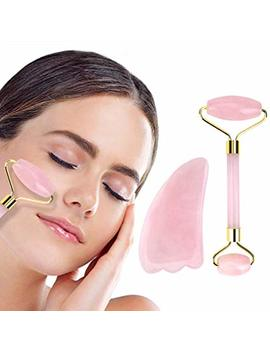 Jade Roller For Face 2 In 1 Gua Sha Tools Including Rose Quartz Roller And Healing Stone 100 Percents Real Natural Anti Aging Jade Face Roller Massager by Deciniee