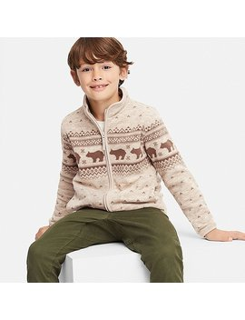 Kids Printed Fleece Full Zip Long Sleeve Jacket by Uniqlo