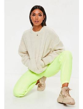 Cream Borg Pocket Front Cropped Sweatshirt by Missguided