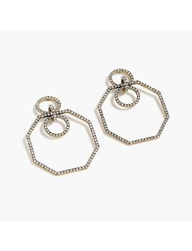 Pave Octagon Earrings by J.Crew