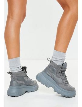 Dark Grey Double Sole Hiking Sneaker Boot by Missguided
