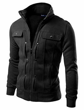 Doublju Mens Highneck Zip Up Jacket by Doublju