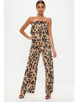 Brown Leopard Print Bandeau Jumpsuit by Missguided