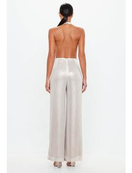 Peace + Love Stone Metallic Cowl Halterneck Backless Jumpsuit by Missguided